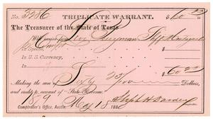 Primary view of [Triplicate Warrant, May 18, 1880]