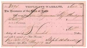 Primary view of object titled '[Triplicate Warrant, May 19, 1880]'.