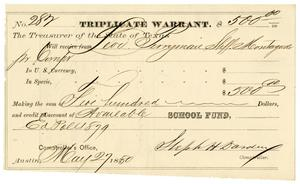 Primary view of object titled '[Triplicate Warrant, May 27, 1880]'.