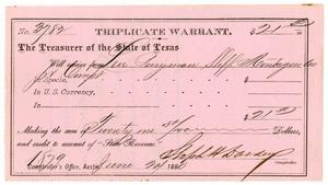 Primary view of [Triplicate Warant, June 24, 1880]