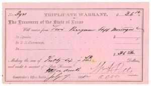 Primary view of object titled '[Triplicate Warrant, July 7, 1880]'.