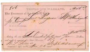 Primary view of object titled '[Triplicate Warrant, November 26, 1880]'.