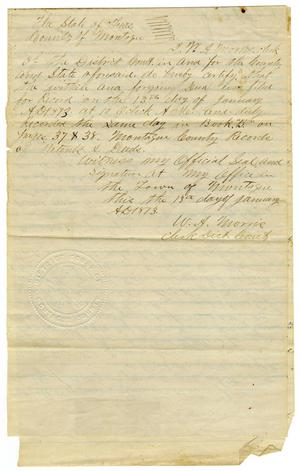 Primary view of object titled '[Deed of  Conveyance, July 9, 1868]'.