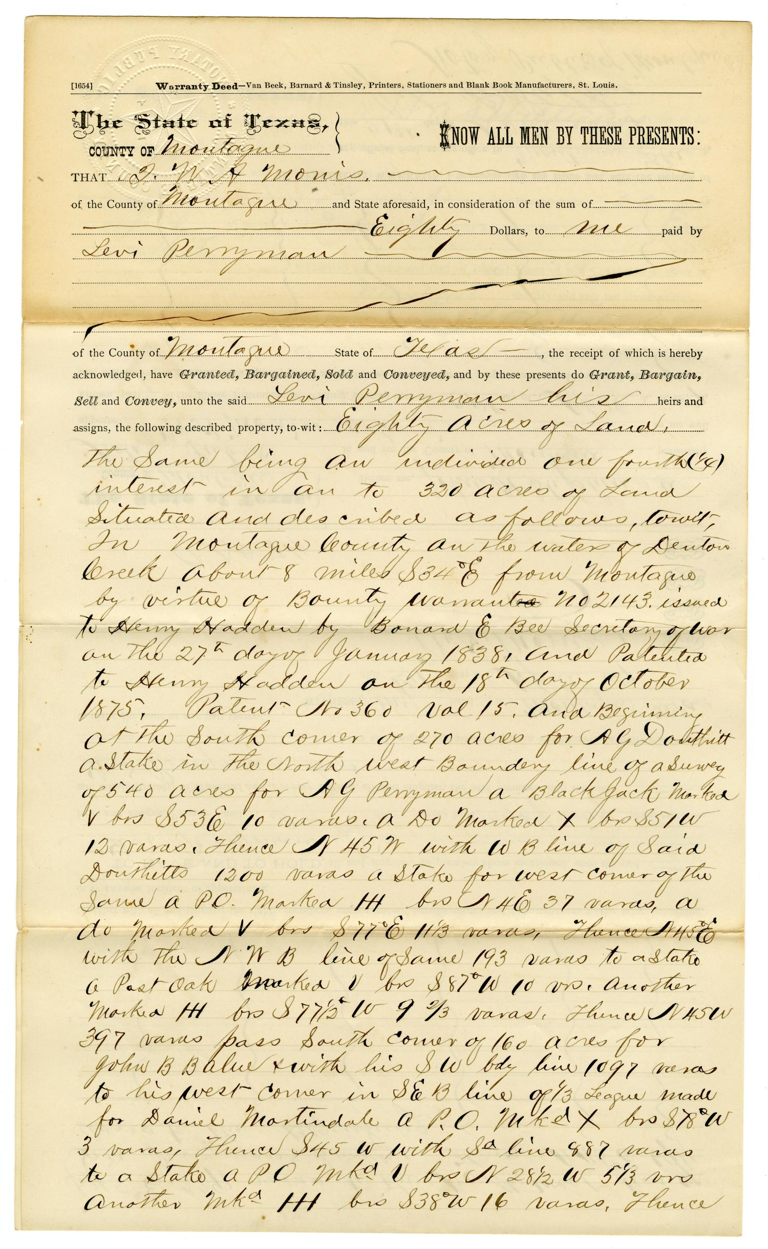 [Warranty Deed, April 30, 1877]                                                                                                      [Sequence #]: 1 of 4