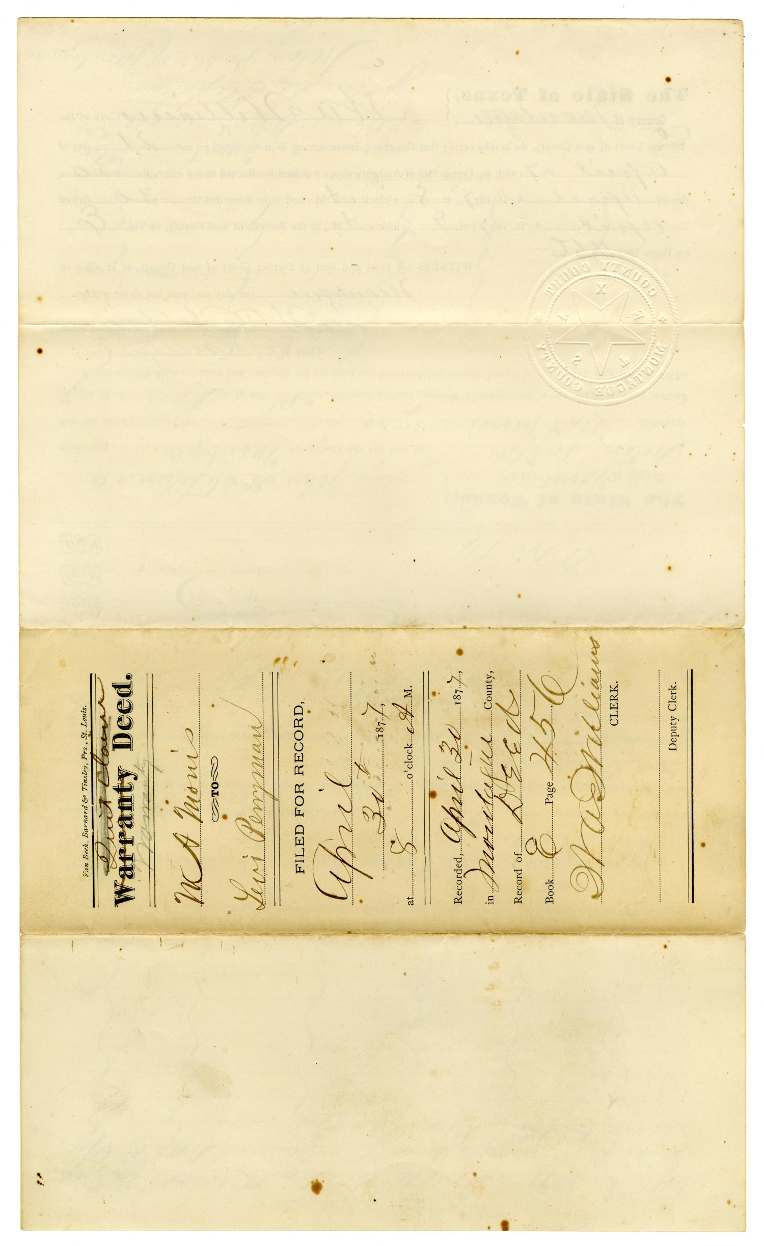 [Warranty Deed, April 30, 1877]                                                                                                      [Sequence #]: 4 of 4