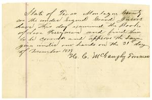 Primary view of object titled '[Statement on the books kept by Levi Perryman, December 31, 1879]'.