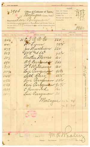 Primary view of object titled '[Tax Receipt for Levi Perryman,1899]'.