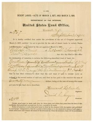 Primary view of object titled '[United States Land Office Deed, September 20, 1902]'.