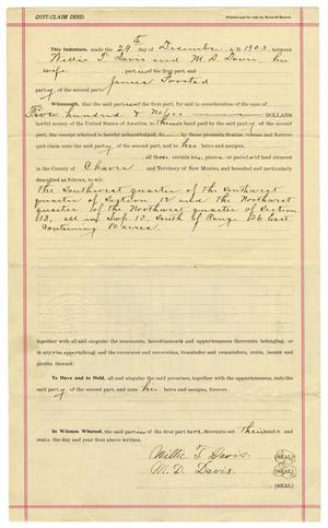 Primary view of object titled '[Quit Claim Deed, December 30, 1902]'.