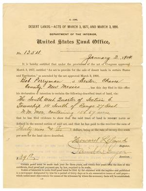 Primary view of object titled '[United States Land Office Deed, January 2, 1904]'.