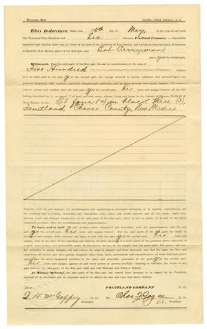 Primary view of object titled '[Warranty Deed, May 18, 1906]'.
