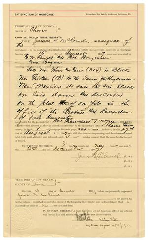 Primary view of object titled '[Satisfaction of Mortgage from E. W. Powell and Bob Perryman to Eva Bryan, December 3, 1907]'.