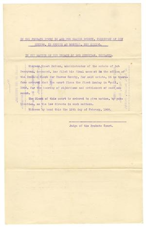 Primary view of object titled '[Probate document , February 15, 1909]'.
