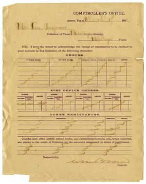 Primary view of [Receipt to Levi Perryman from Comptroller's Office, March 1, 1881]