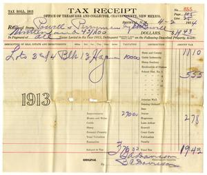 Primary view of object titled '[Tax Receipt, April 2, 1914]'.