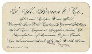 Primary view of object titled '[Business Card for T. M. Brown & Co.]'.