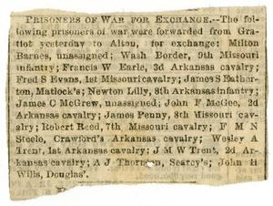Primary view of object titled '[Newspaper Clipping: Prisoners of War for Exchange]'.