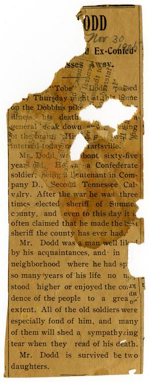 "Primary view of object titled '[Obituary for J.K. ""Tobe"" Dodd, November 30, 1905]'."