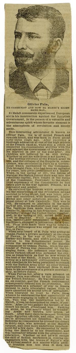 Primary view of object titled '[Periodical Clipping of Olivier Pain]'.