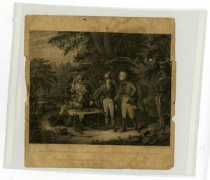 Primary view of object titled '[Gen Marion in his swamp encampment inviting British Officer to dinner]'.