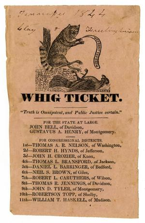 Primary view of object titled '[Whig Ticket]'.