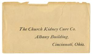 Primary view of object titled 'Envelope to The Church Kidney Cure Company'.