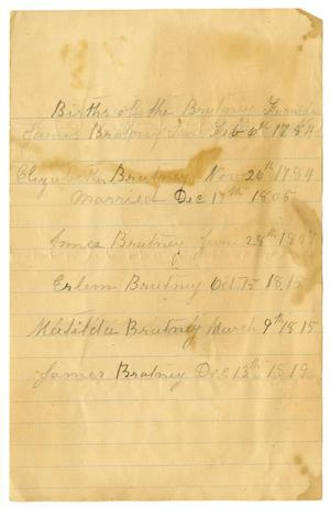 Primary view of object titled '[Births of the Bratney Family]'.