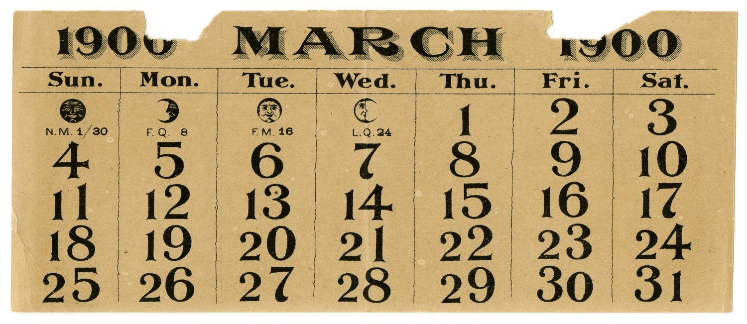[Calendar Page for March 1900]                                                                                                      [Sequence #]: 1 of 2
