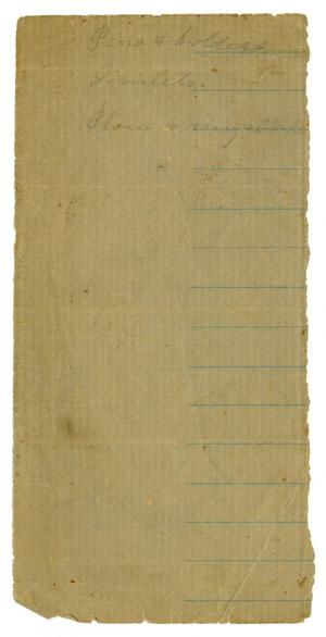 Primary view of object titled '[List of Supplies]'.