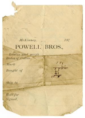 Primary view of object titled '[Receipt from Powell Bros.]'.