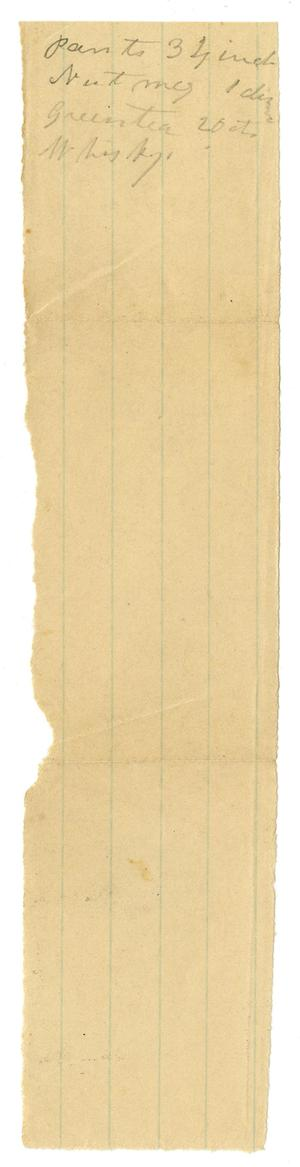 Primary view of object titled '[Short List of Supplies]'.