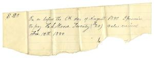Primary view of object titled '[Promissory Note from C. B. Moore to H. S. Moore, February 12, 1880]'.
