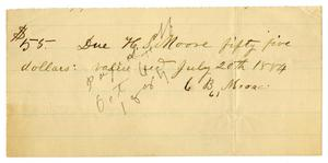 Primary view of [Promissory Note from C. B. Moore to H. S. Moore, 1884]