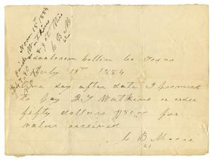Primary view of [Promissory Note from C. B. Moore to Watkins, July 19, 1884]