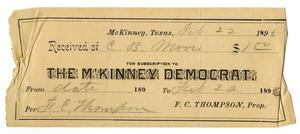Primary view of object titled '[Receipt for Subscription to The M'Kinney Democrat, February 22, 1895]'.