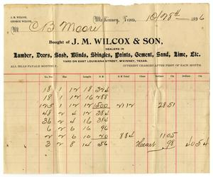 Primary view of object titled '[Bill from J. M. Wilcox & Son, October 8, 1896]'.