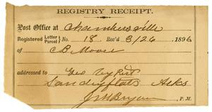 Primary view of [Registry Receipt, August 26, 1896]