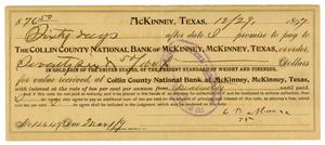 Primary view of object titled '[Loan Contract with Collin County National Bank of McKinney Texas]'.