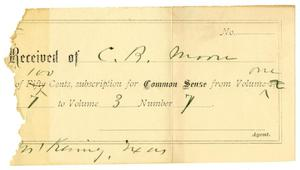 Primary view of object titled '[Receipt for Subscription to Common Sense]'.