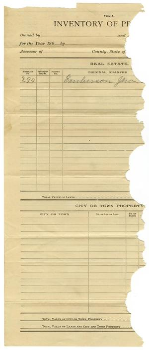 Primary view of object titled '[Inventory of Property Owned in Collin County, Texas]'.