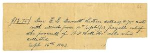 Primary view of [Receipt from E. L. Durrett to Charles B. Moore, September 16, 1843]