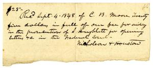 Primary view of [Receipt from Nicholson and Houston, September 4, 1848]