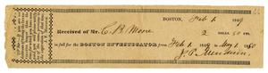 Primary view of object titled '[Receipt for Boston Investigator, February 1, 1849]'.