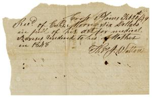 Primary view of object titled '[Receipt from Thomas J. Walton, February 20, 1849]'.