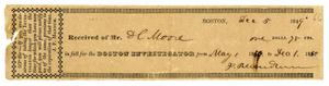 Primary view of object titled '[Receipt for Boston Investigator, December 5, 1849]'.