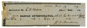 Primary view of object titled '[Receipt for Boston Investigator, February 19, 1853]'.