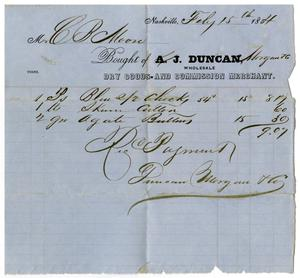 Primary view of [Receipt from A. J. Duncan, February 15, 1854]