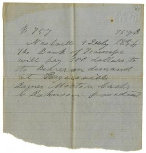 Primary view of [Promissory note  from Bank of Tennessee, July 1, 1854]
