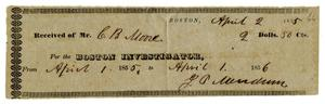 Primary view of object titled '[Receipt for Boston Investigator, April 2, 1855]'.