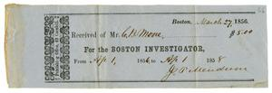 Primary view of object titled '[Receipt from the Boston Investigator to C. B. Moore, March 27, 1856]'.